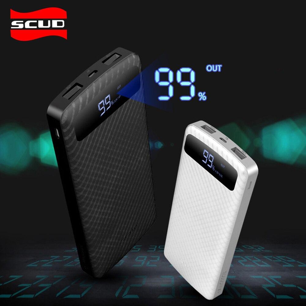 Scud Banco de la energía 20000 mAh para el Banco de la energía del teléfono cargadores de batería externos alta velocidad caja de carga rápida portátil Delgado powerbank 2.1A