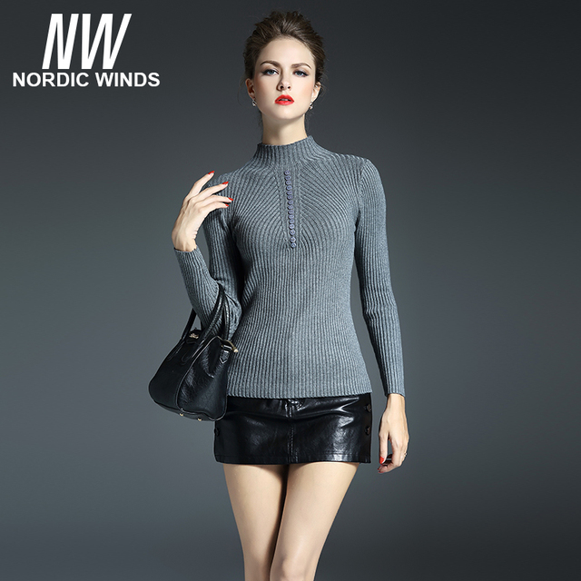 Nordic winds 2016 winter christmas party women pullovers stand-up collar long sleeve button decoration bodycon knitted sweater