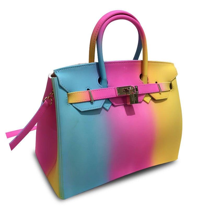 2019 nouvelle couleur sac à main personnalité gelée sac épaule en bandoulière femme grand sac Hit couleur mat sac professionnel