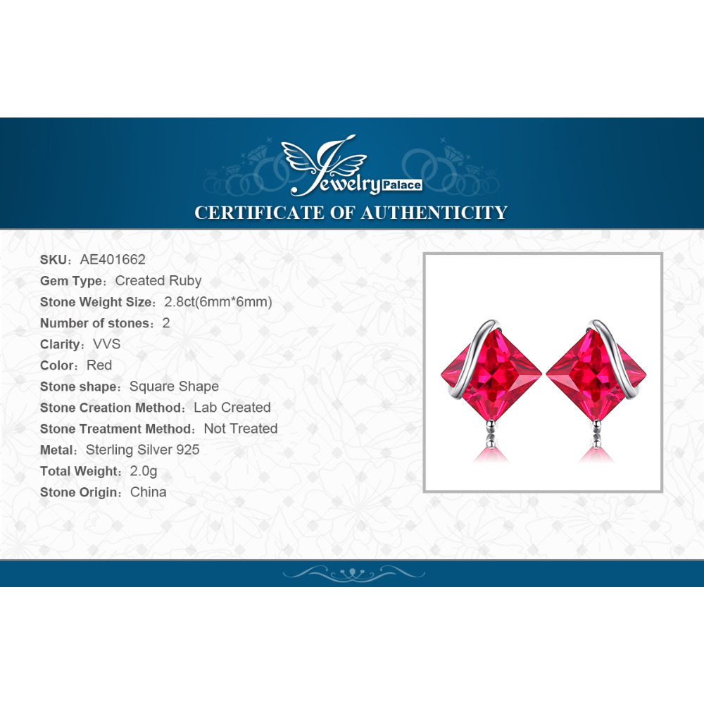 JewelryPalace Klasični trg 2.8ct Stvoren Crveni Ruby Stud Naušnice - Fine nakit - Foto 6