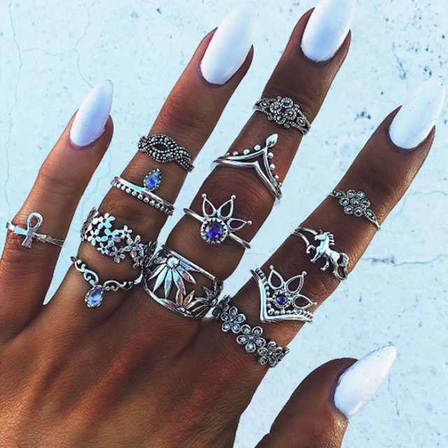 Miss JQ 13pcs/set Boho Style Retro Silver Plated Elephant Hollow Lotus Ring Sets for Women Knuckle Midi Rings Beach Jewelry 3