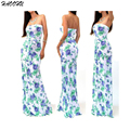 2015 High Quality New Summer Dresses Printed Long Dress Strapless Beach Bohemian Maxi Dress with belt Feminine Plus Size 942 DX