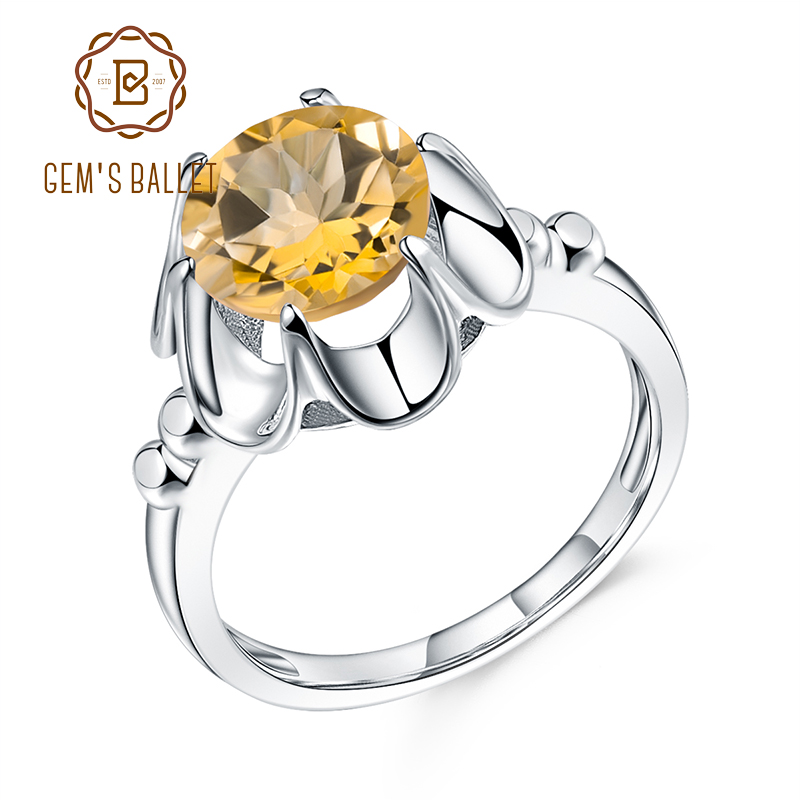 wholesales Jewelry Gift for Mothers Day Wave 925 Silver Yellow Citrine Good Gemstones Ring Good Gemstones Round cabochon Citrine Ring