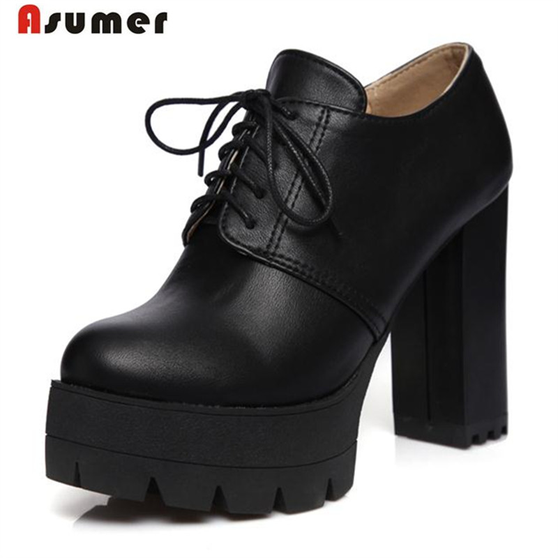 Asumer 2018 Platform shoes women pumps lace-up contracted fashion high heels shoes solid pu round toe single shoes round toe new arrivals 2016 l solid plain lace up round toe platform flat heels comfortable flats sale women fashion shoes