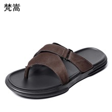slippers Mens Summer 2019 new Korean version personality Genuine Leather flip-flops Men Soft-soled Beach Shoes flip flop sandals