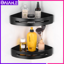Bathroom Shelf Black Aluminum Bathroom Shelves Corner Storage Holder Cosmetic Rack Wall Mounted Shower Caddy Shampoo Soap Basket стоимость