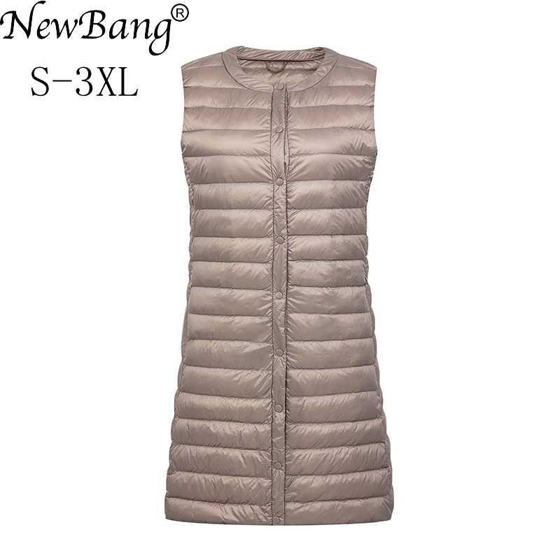 NewBang 브랜드 여성 긴 조끼 울트라 라이트 다운 조끼 여성 여성 다운 코트 긴 슬림 민소매 칼라 자켓없이