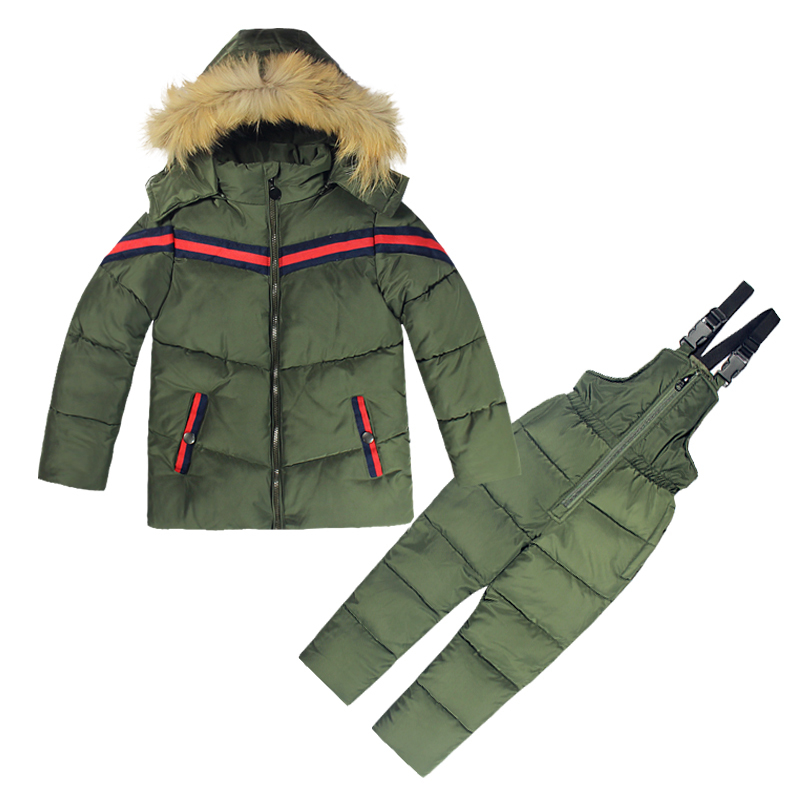 Winter Jacket Boy Set 2PCs Jacket+Overalls for Children Warm Windbreaker Outwear Snowsuits with Hat Natural Fur 2-6T KidsWinter Jacket Boy Set 2PCs Jacket+Overalls for Children Warm Windbreaker Outwear Snowsuits with Hat Natural Fur 2-6T Kids