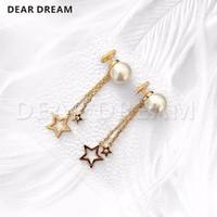 2019 Fashion Jewelry Girls Luxury Gold Letters Pearls Five Point Stars Tassel Earrings for Women Fashion Jewelry