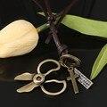 Especial Tijeras de Bronce Diseño Colgante Largo Collar de Cuerda Para Las Mujeres y de Los Hombres Vendedores Calientes Del Cuero Genuino Ajustable Collar