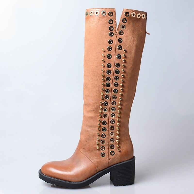Haute Rivet In brown Décoration En Perfetto Longues Leather Chaussures Hiver Brown À Talons Mode Hauts Confortable Short Femmes Genou Métal Neige Plush Bottes Prova WEH9Ie2YD