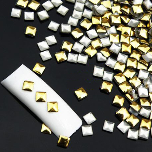 120Pcs 6 Styles Gold / Silver Metallic Rhinestones  Nail Art Salon Decor Stickers Tips DIY Decorations Studs 5VWA 7GUY