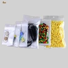 100pcs/lot Big 4sizes White/Clear Reclosable Valve Zipper Retailer packaging bag Ziplock Zip Lock Bag Retail Package Hang hole