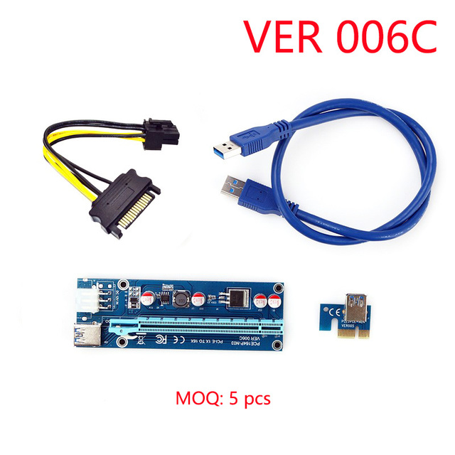 006C PC PCIe PCI-E PCI Express Riser Card 1x to 16x USB 3.0 SATA to 6Pin IDE Molex Power Supply for BTC Miner Machine WK02