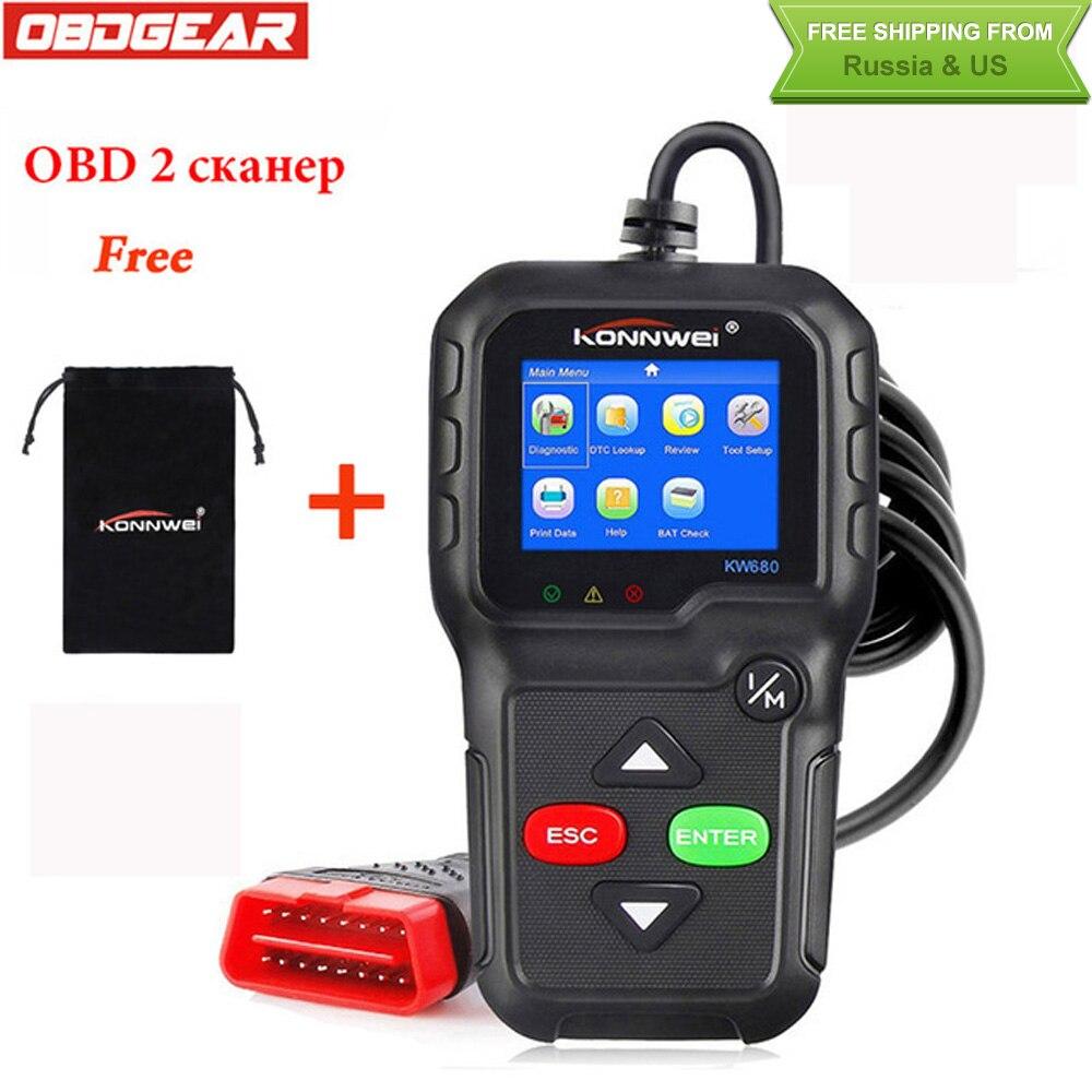 2018 Best OBD2 Car Diagnostic Scanner KONNWEI KW680 Full OBD2 Function OBD2 Autoscanner Multi-language OBD2 Automotive Scanner 2016 new arrival vs 890 obd2 car scanner scantool obdii code reader tester diagnostic tools 3 inch lcd car detector
