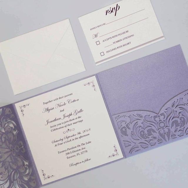 Elegant Laser Cut Wedding Invitations with RSVP Cards, Purple Pocket