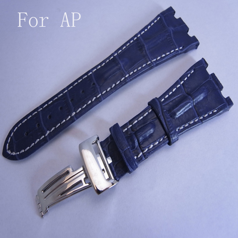 28MM*18MM AP Watchband,8 Styles to Choose,Black Brown Blue Genuine Leather Watch Strap Belt Bracelet With Folding Clasp And Logo menwomen size to choose black bondage