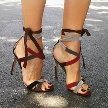 Lady Sexy Wine Red Suede Color Patchwork Gladiator Sandals Cross Strappy Lace-up Colorized Banquet Shoes Stiletto Heels