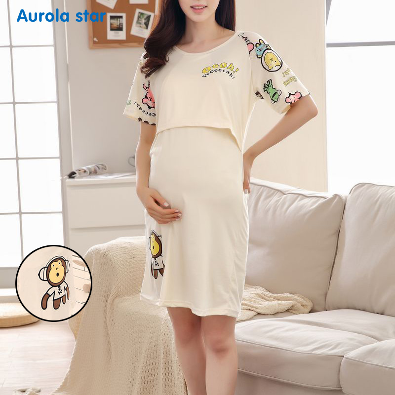 Pajamas Nursing Breastfeed Maternity Dress Pregnant Sleepwear Bear Breastfeeding For Pregnant Women Cute Cartoon Print Dresses cartoon bear fashion maternity suit for pregnant women with high quality maternity clothes