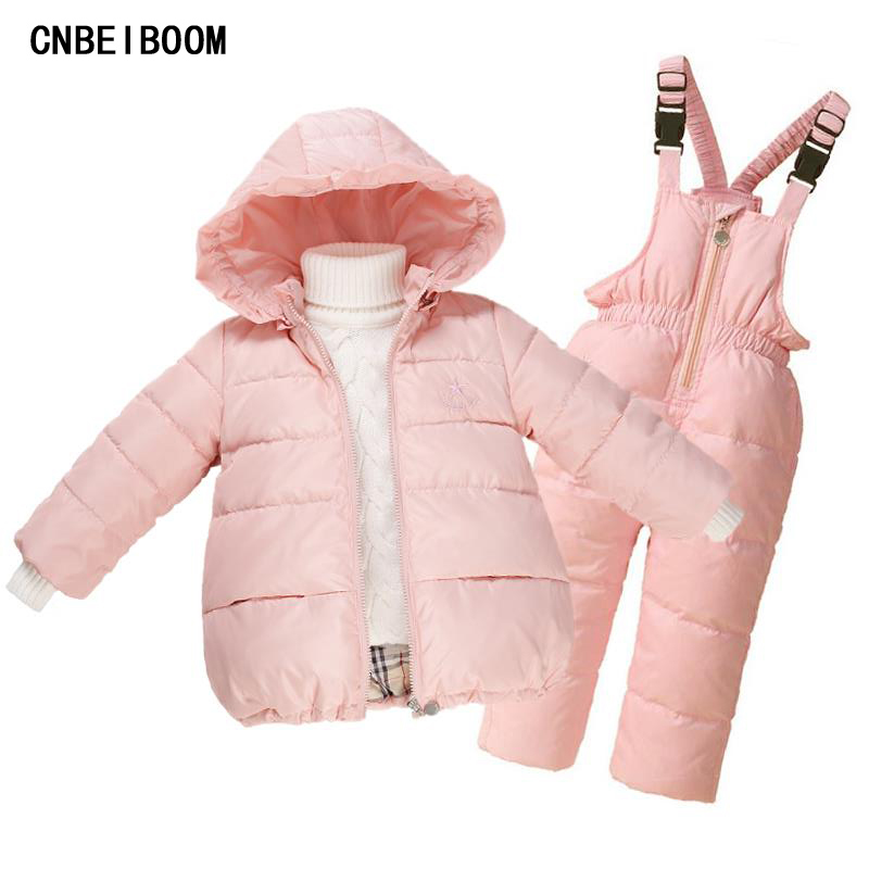 Children Winter Jacket Girls Overalls 2016 Newest Snowsuit Ski Suit Kids Down Warm Coat +Bib Pants Dresses For Girl Snow Clothes children snowsuit winter clothing set down jacket down overalls pants baby girls outfits kids suit clothes for baby boys