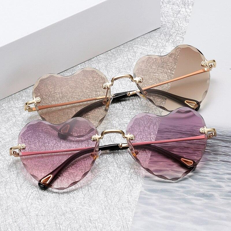 5191db8fd63 Brand Designer 2018 New Love Heart Sunglasses Women Fashion Rimless Sun Glasses  Cute Sexy Candy Colors