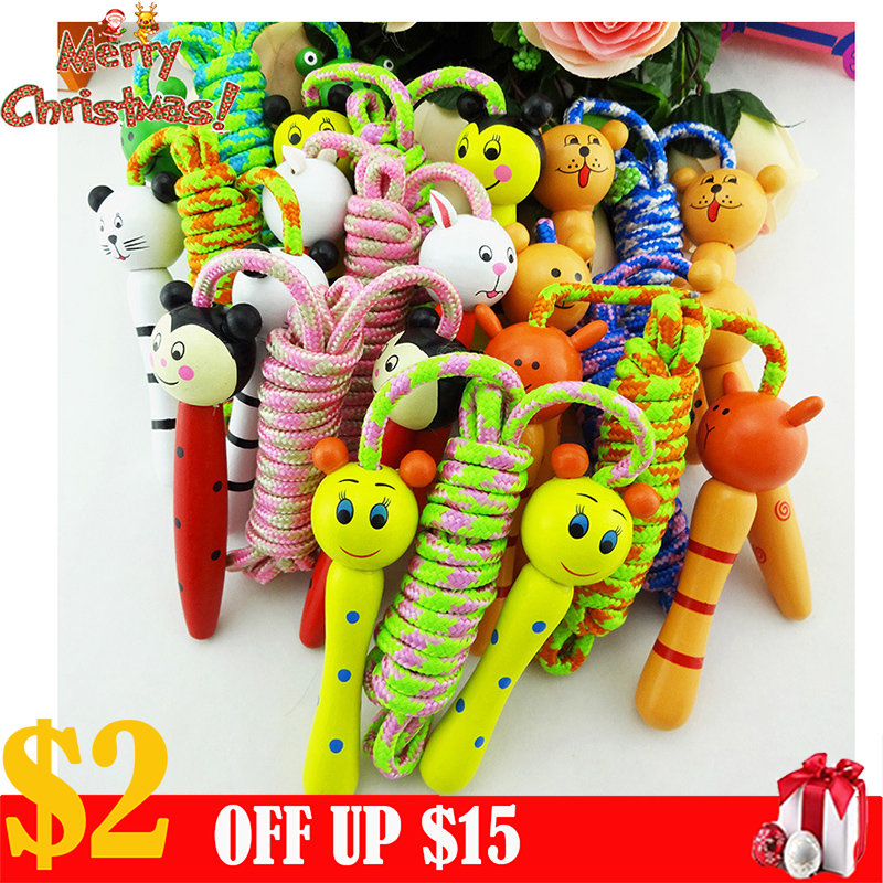 Assorted Design Kids Children Cartoon Animal Wooden Handle Skipping Jump Rope Exercise Pink 1pc