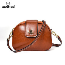 GENMEO Brand New Arrival Genuine Leather Women Handbag with Shoulder Strap and Bee Button Female Cow Tote Bags Bolsa