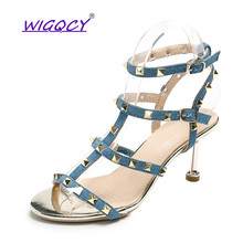 Rivet Thin Heels High heels sandals women 2019 new summer shoes European American Buckle Studded Roman female