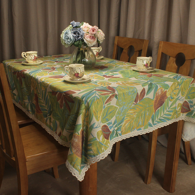 Curcya Green Anese Banana Leaves Printed Modern Tablecloth