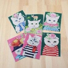 Zakka mão tingido 6 assorted cotton linen100 % impresso quilt tecido para diy costura patchwork home textile decor 12*9.5 centímetros gato bonito