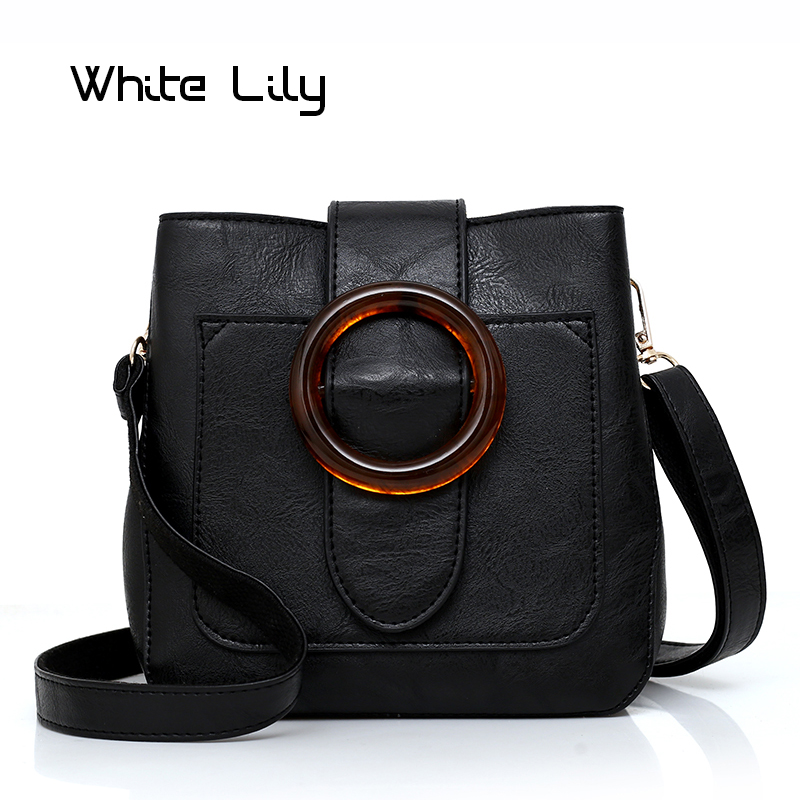 New Soft PU Leather Retro Bucket Bag Shoulder Bag Female Crossbody Bag Ladies Circle Hasp Saddle Bag|Shoulder Bags| |  - title=