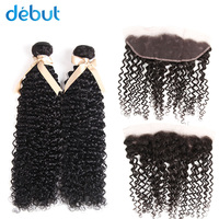 Debut Raw Indian Human Hair Bundles With Closure 2/3 Bundles Jerry Curl 10 22 Inch Hair Bundles With 13*4 Lace Front Closure