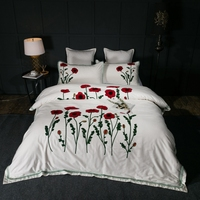 IvaRose white embroiderd bedding sets butterfly American style 3d bedding set flower floral bed linen duvet cover 100% cotton