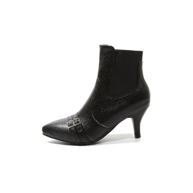 Negro Altos Delgados Las Mujeres Invierno Moda plata Hebillas Botines Banda Toe Punta De Smeeroon rosado Zapatos Elástico 2018 Señoras Tacones Mujer Botas wZxnq7Hv