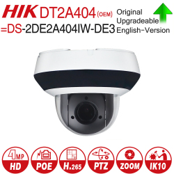 Hikvision OEM PTZ IP Camera DT2A404 = DS-2DE2A404IW-DE3 4MP 4X zoom Network POE H.265 IK10 ROI WDR DNR Dome CCTV Camera