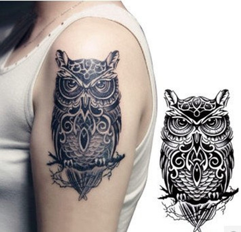 Black And White Owl Totem Printed Tattoo Sticker Waterproof Sexy