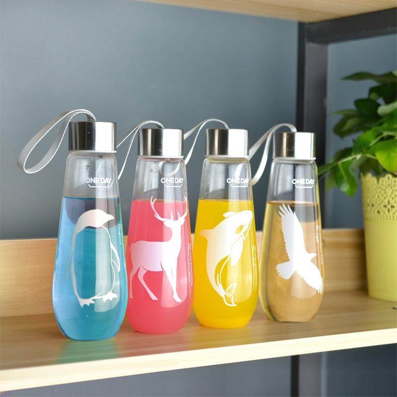 480ML Water Bottle With Bag Leak Proof Glass Water Bottle Drinkware Transparent Water Bottles Cute Anima