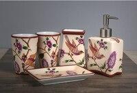 Европейском стиле ручная роспись льда трещины керамические ванная комната пять штук набор туалетные принадлежности чашки и бутылка лосьон
