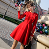 Vintage Red Dresses Women 2018 Spring Korean Elegant Ruffles Slim Waist Long Sleeve Dress Black Vestido