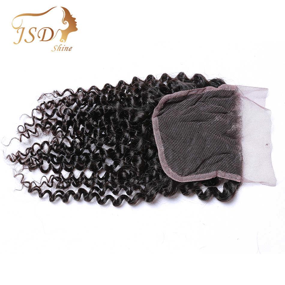 Jsdshine cabelo brasileiro kinky encaracolado fechamento do laço 8-20 polegada 4*4 parte livre remy cor natural fechamento do cabelo humano frete grátis