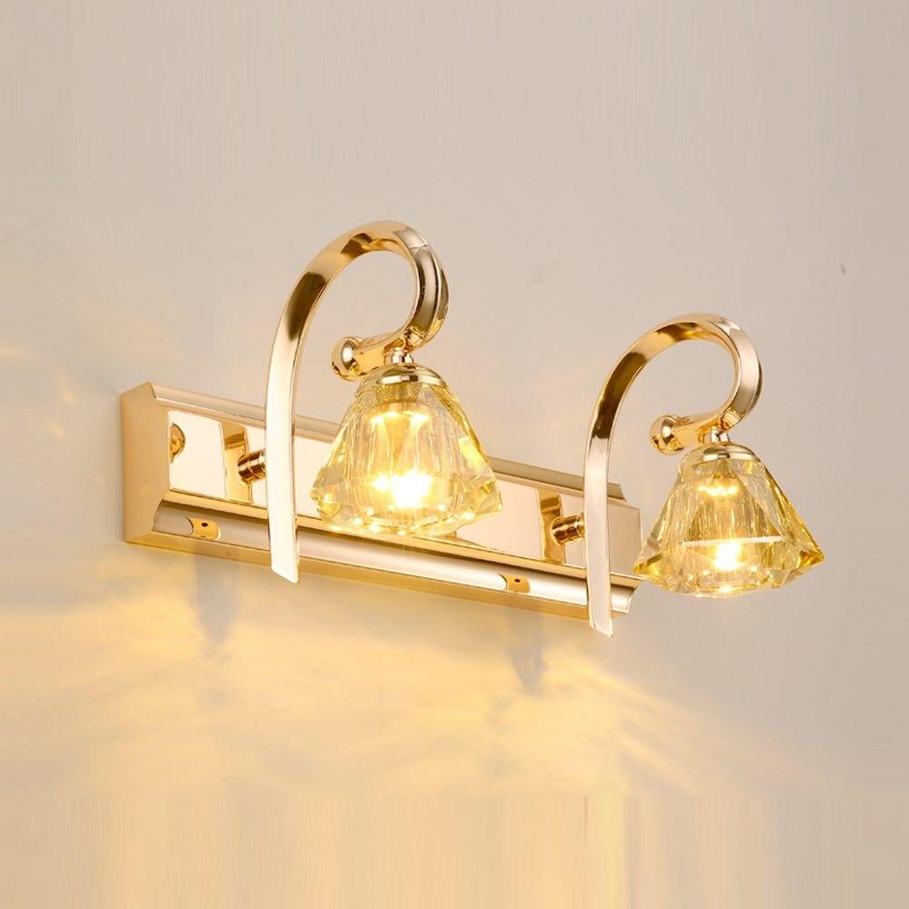 led di lusso moderno oro cristallo applique da parete bagno bagno moda specchio frontale lavanderia lampada
