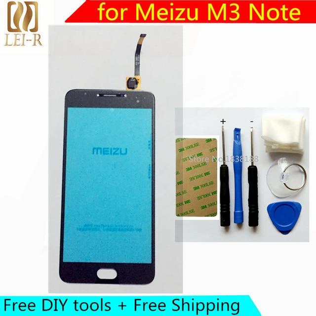 Livre diy ferramentas + tela original novo toque para meizu m3 note sensor capacitivo de vidro para meizu m3 note painel da tela de toque preto