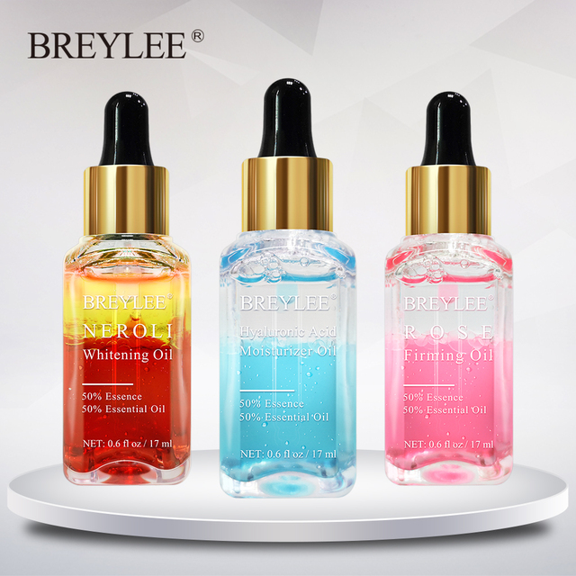 BREYLEE Hyaluronic Acid Essential Oils Moisturizer Whitening Essence Face Skin Care Rose Firming Facial Serum Anti