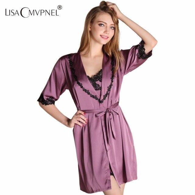 Lisacmvpnel Half Sleeve Sexy Lace Women Robe Set Spaghetti Strap Split Nightdress+Cardigan Set Elegant Women Bathrobe