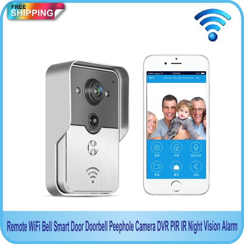 Free Shipping!!Remote WiFi Bell Smart Door Doorbell Peephole Camera DVR PIR IR Night Vision Alarm