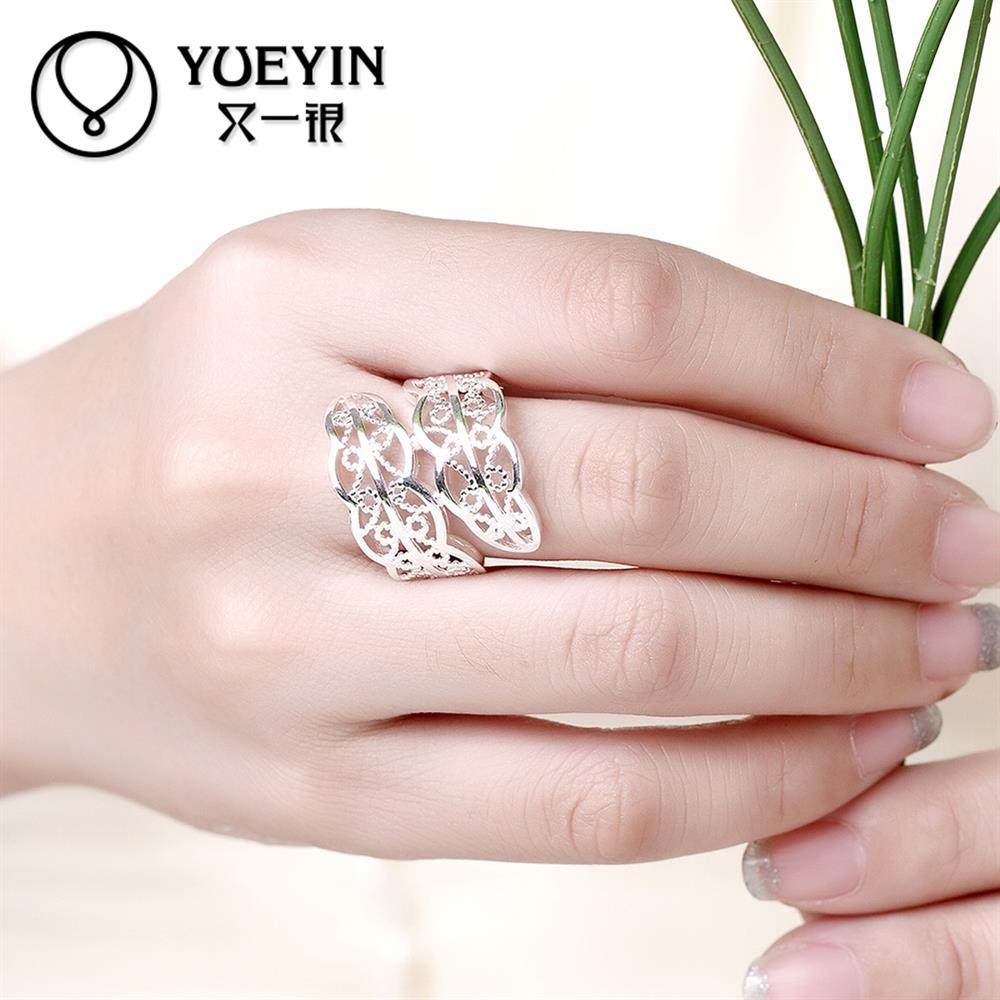 Silver plated finger ring for lady hollow design flower shape rings ...