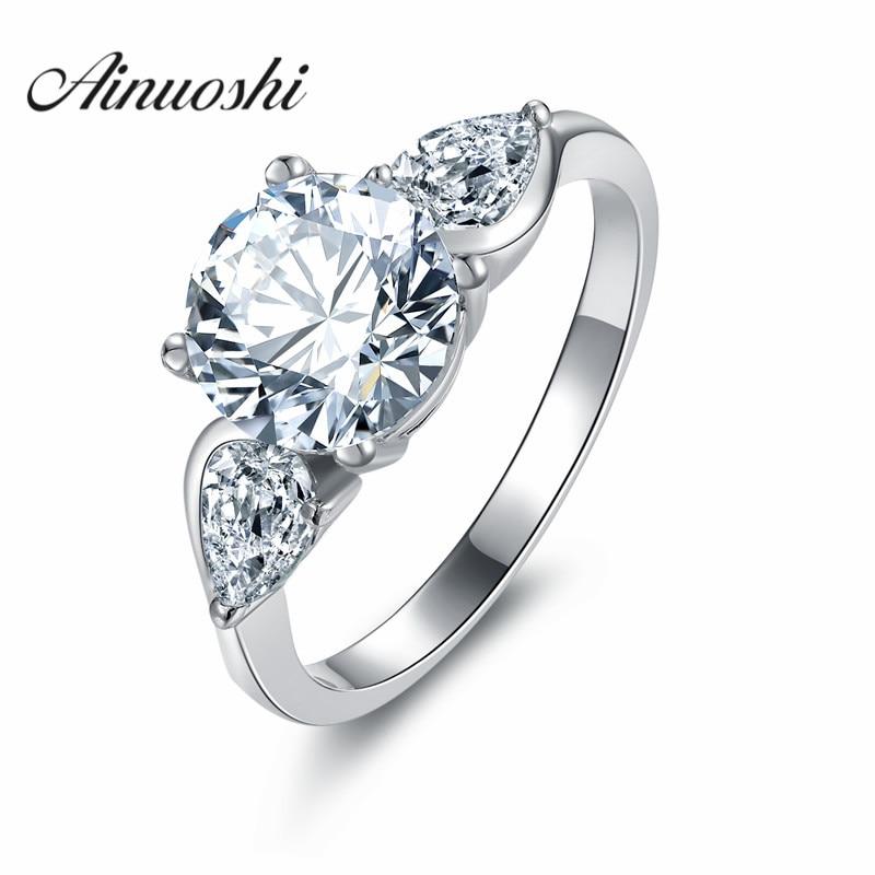 Klasický kulatý střih hvězda briliantový sona prsten 3 kameny zásnubní prsten pro ženy 925 mincový stříbro ženy dívka party milence dárek