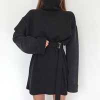 Real Shot 2018 Spring Women's Solid Turtleneck Long Sleeve Dress Female Bandage Plus Size Straight Cotton Dresses