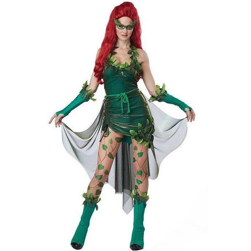 Signore di Halloween Poison Ivy Costume Film di Batman Villian Prestazioni Vestito Verde Elf Fancy Dress