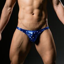 Męskie seksowne spodenki z nadrukiem w gwiazdki bielizna ze sztucznej skóry męskie modne spodenki męskie majtki obcisłe chłopięce satynowe figi 4 kolory darmowa wysyłka tanie tanio NYLON spandex Drukuj yufeida